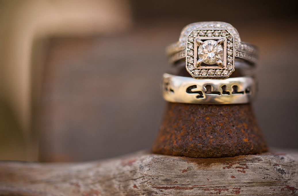 Engagement rings illustrate attention to detail in Chattanooga wedding photography by Dotson Studios.